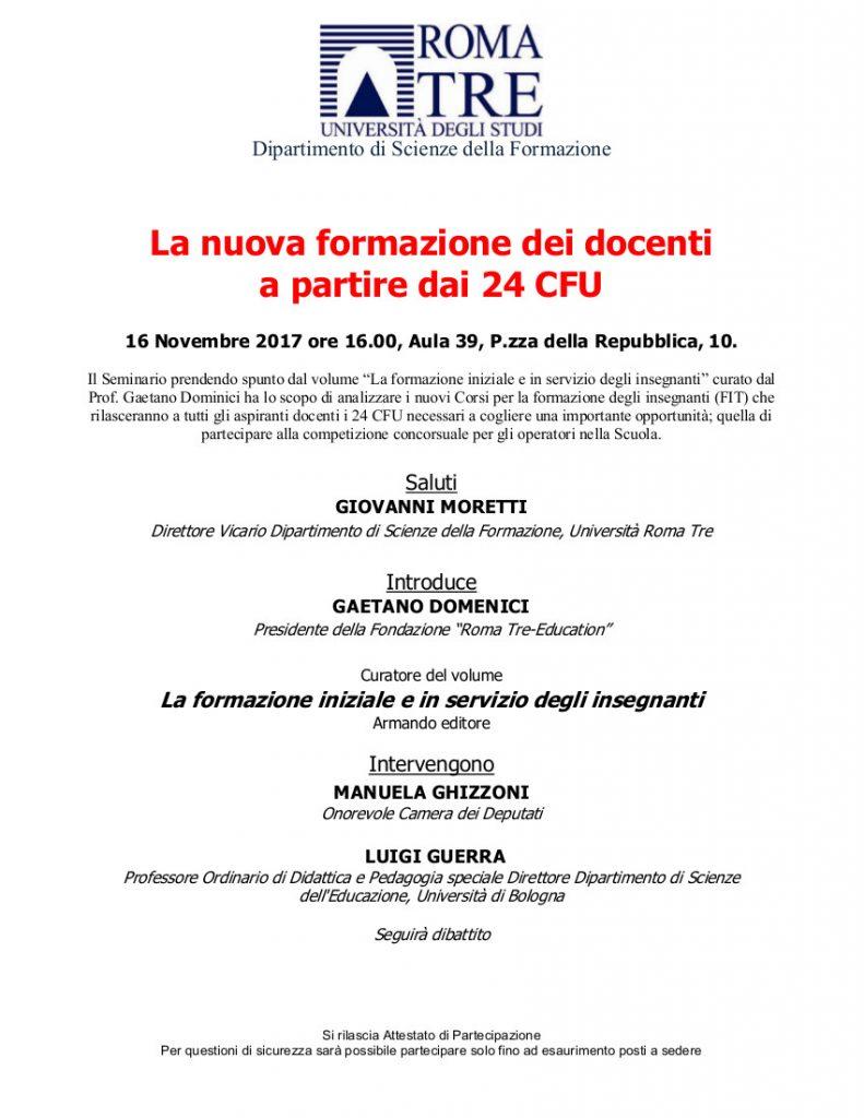 Roma, La nuova formazione dei docenti a partire dai 24 Cfu